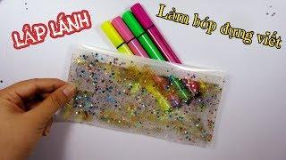 DIY School Supplies: Pencil Case / Làm dụng cụ học tập: Cách làm Bóp đựng viết lấp lánh / Ami DIY