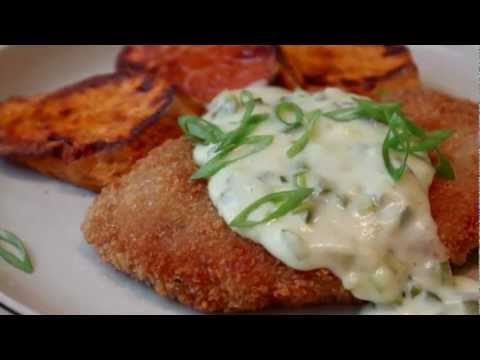 Crispy Pork Cutlets with Creamy Jalapeno Green Onion Gravy -