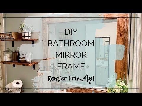 DIY BATHROOM MIRROR FRAME | RENTER FRIENDLY | RUSTIC FARMHOUSE MIRROR FRAME