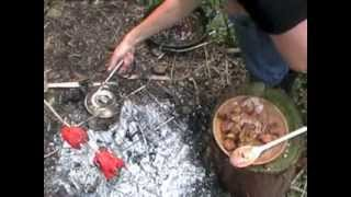 WILD RABBIT FIELD PREP AND COOKING OVER OPEN FIRE