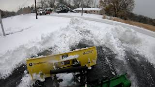 """Plowing Snow - Winter Storm Avery  - John Deere 1025r and 54"""" Blade"""