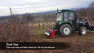 PTH Micro Crusher mit FOTON Schlepper im Einsatz als Mini Forstmulcher & Bodenfräse