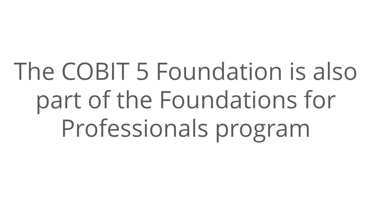 Cobit 5 Foundation Course Certification Overview Youtube