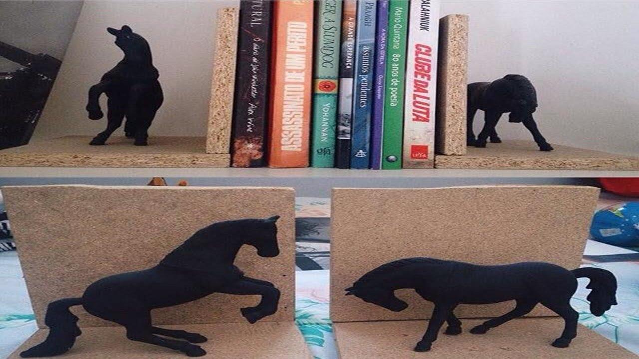 Artesanato Com Madeira Pregos E Linha ~ DIY Aparador de Livros Decorativo YouTube