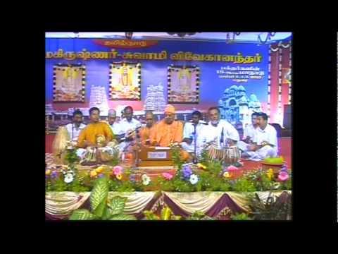 Swami Jnanadananda ji Maharaj singing a tamil bhajan on Sri Ramakrishna