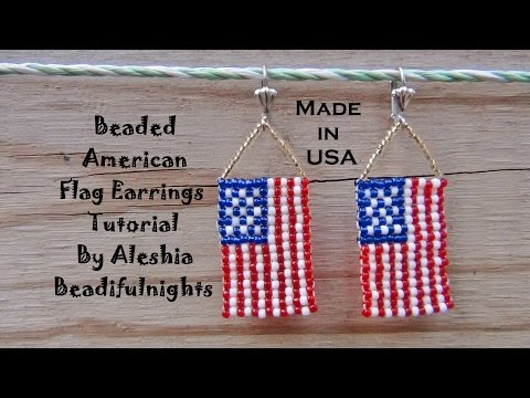 Beaded American Flag Earrings Tutorial
