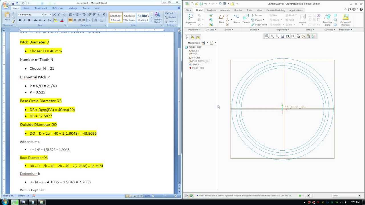 How to Draw Involute Gears in Creo Paramatric Involute Gear Tutorial - Part  2