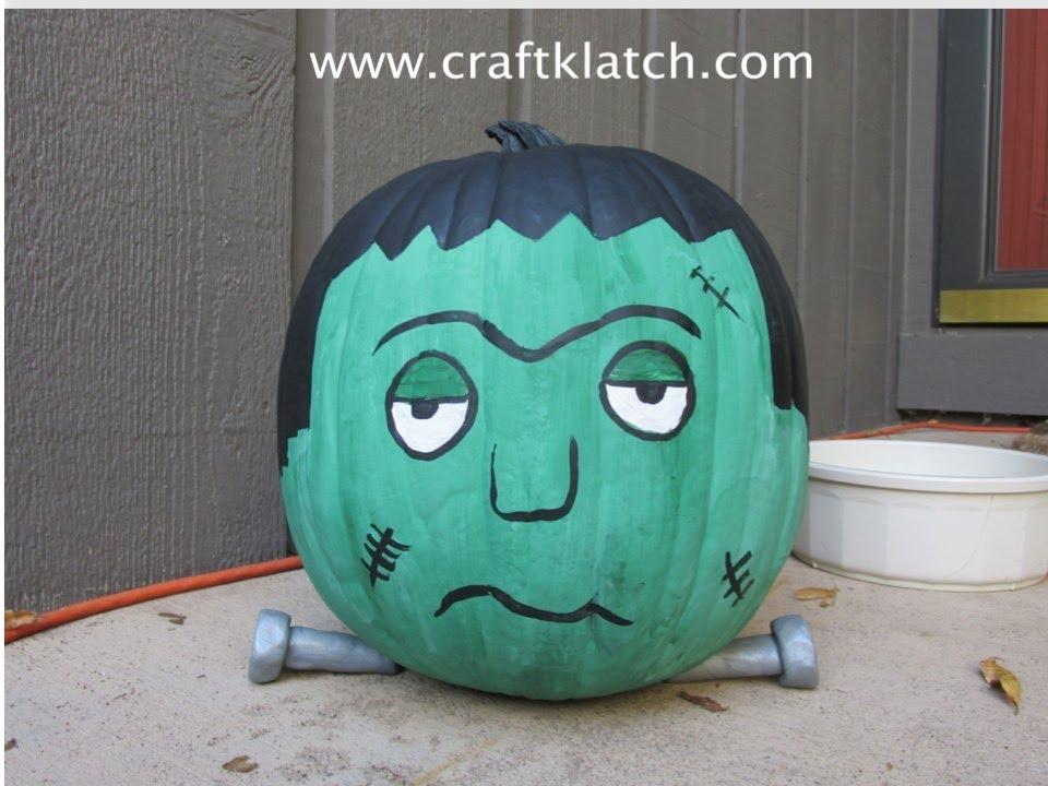 frankenstein pumpkin halloween craft youtube - How To Paint Pumpkins For Halloween