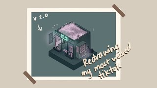 Redrawing my most viewed Tiktok! | Tutorial and Progress (Isometric LoFi Art)