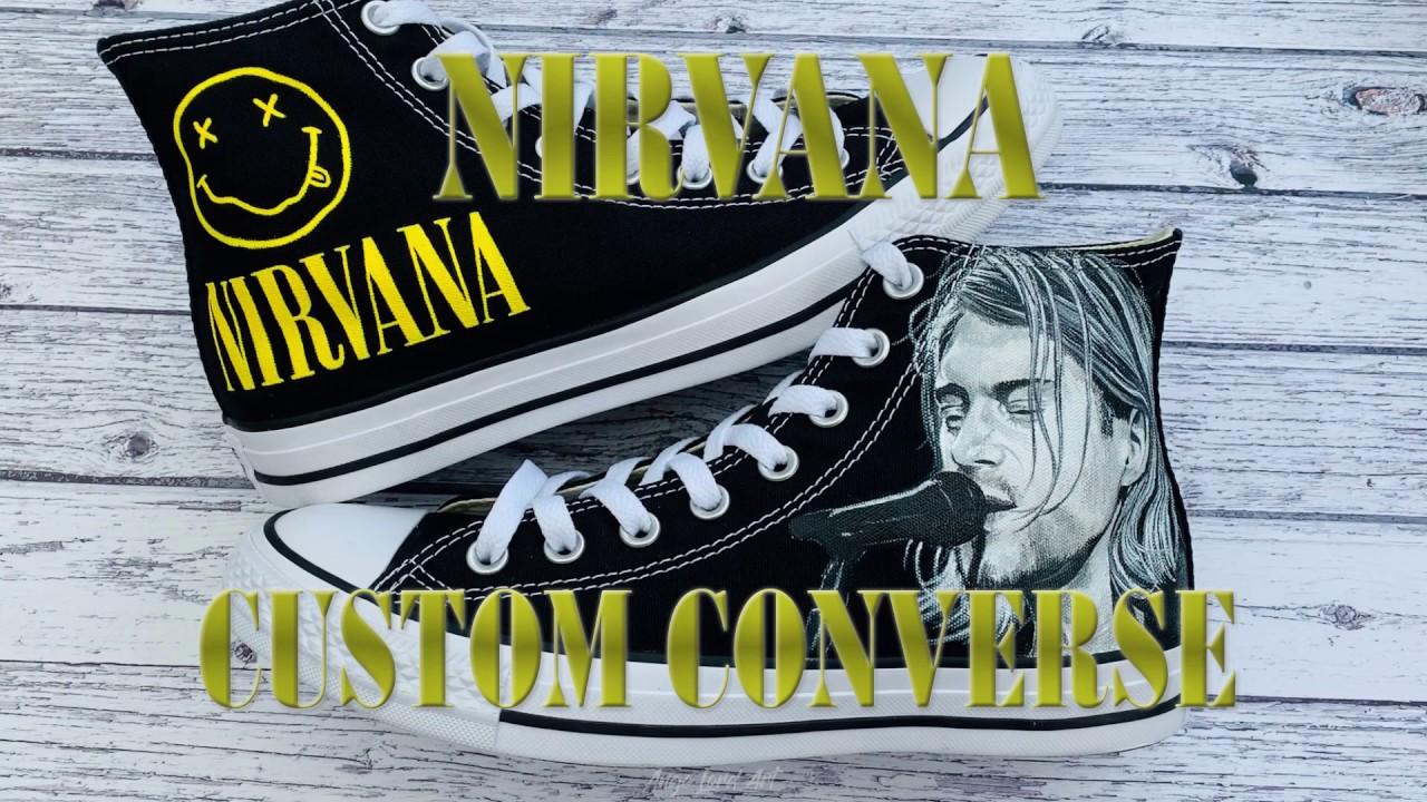 Kurt Cobain Nirvana Tribute Inspired Converse | Custom Shoes | How To Paint Shoes Sneakers