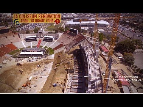 Rams LA Coliseum Renovation | April '18 Construction Drone Tour