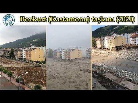 Öncesi ve sonrasıyla Bozkurt taşkını, Catastrophic flood in Bozkurt, Turkey (2021) (by Murat Özer)
