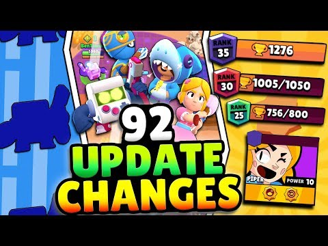 92 NEW UPDATE CHANGES! RANK 25, 30 & 35! FREE BRAWLER, 4 SKINS & MORE! EVERY BRAWL UPDATE CHANGE