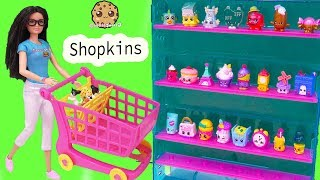 CookieSwirlC Barbie Doll and Dogs Meet Shopkins at Small Mart  Video
