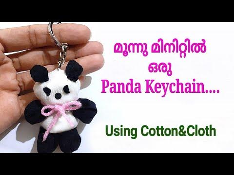 How to Make Easy Cloth Panda Keychain🐼/Teddy Keychain /DIY Making Cotton-Fabric Easy Panda Keychain