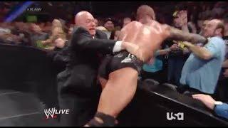 WWE Raw 1/13/14 Randy Orton Knocks Out Fan (John Cenas DAD) Live Commentary