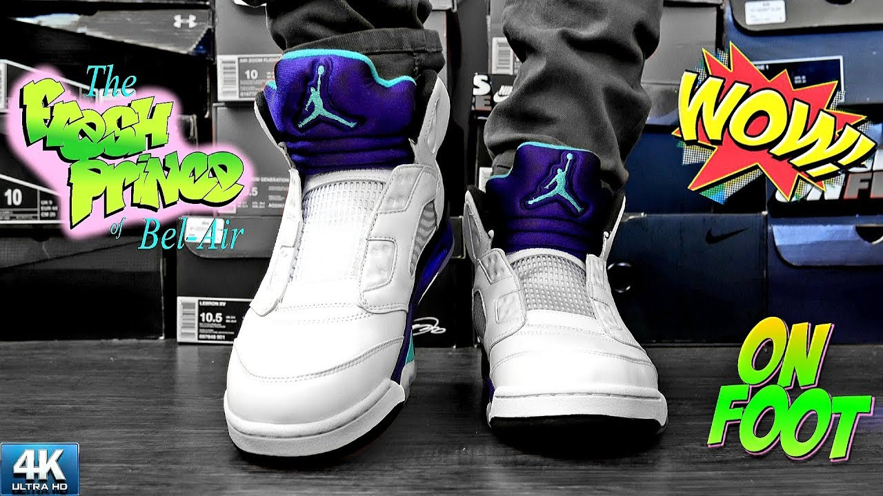01f228d014fc43 2018 Grape FRESH PRINCE Air Jordan 5 NRG ( NO LACES ) On Foot IN 4k ...