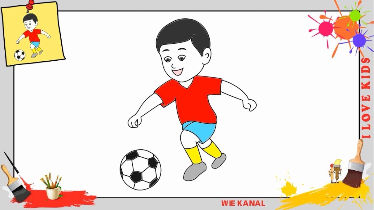 Junge spielt fu ball zeichnen schritt f r schritt f r anf nger kinder zeichnen lernen youtube - Comment dessiner un but de foot ...