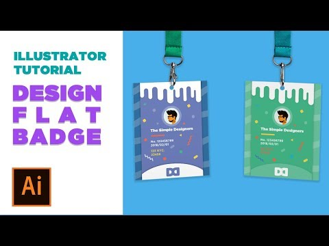 Design Process : Design a flat style Conference  Badge in Illustrator ( Adobe Live Daily challenge )