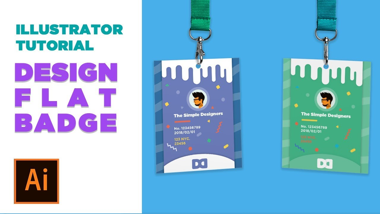 design process   design a flat style conference badge in illustrator   adobe live daily