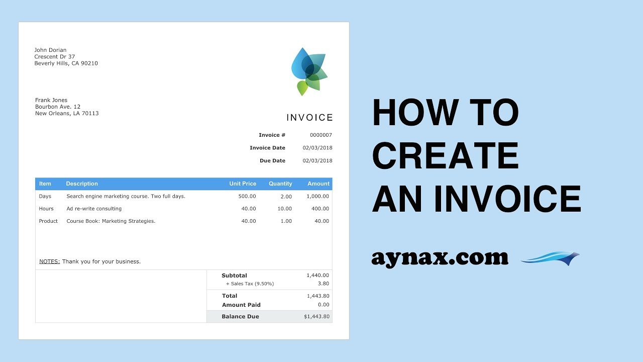 Aynax How To Create An Invoice YouTube - Aynax free invoice template cheap online clothing stores