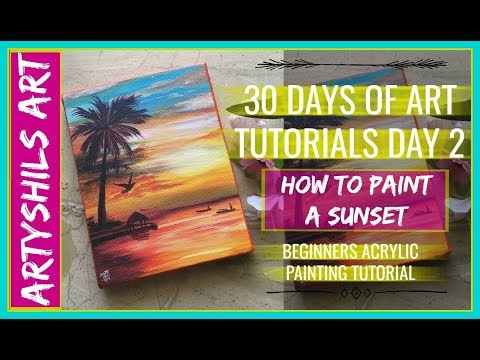 HOW TO PAINT A SUNSET 30 days of art tutorials day 2 ACRYLIC PAINTING BEGINNERS TUTORIAL
