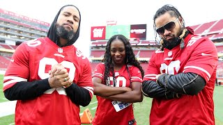 The Usos and Naomi meet San Francisco 49ers player with Connor's Cure cleats