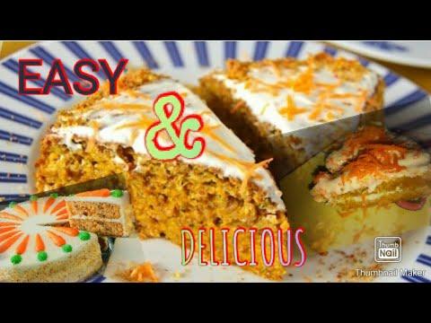 resepi-kek-lobak-cheese-mudah-|-easy-carrot-cake-recipe-with-cream-cheese-|-sumandak-kampung