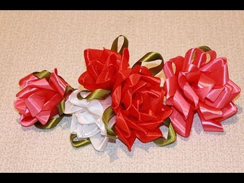 Объемные розы из атласных лент своими руками