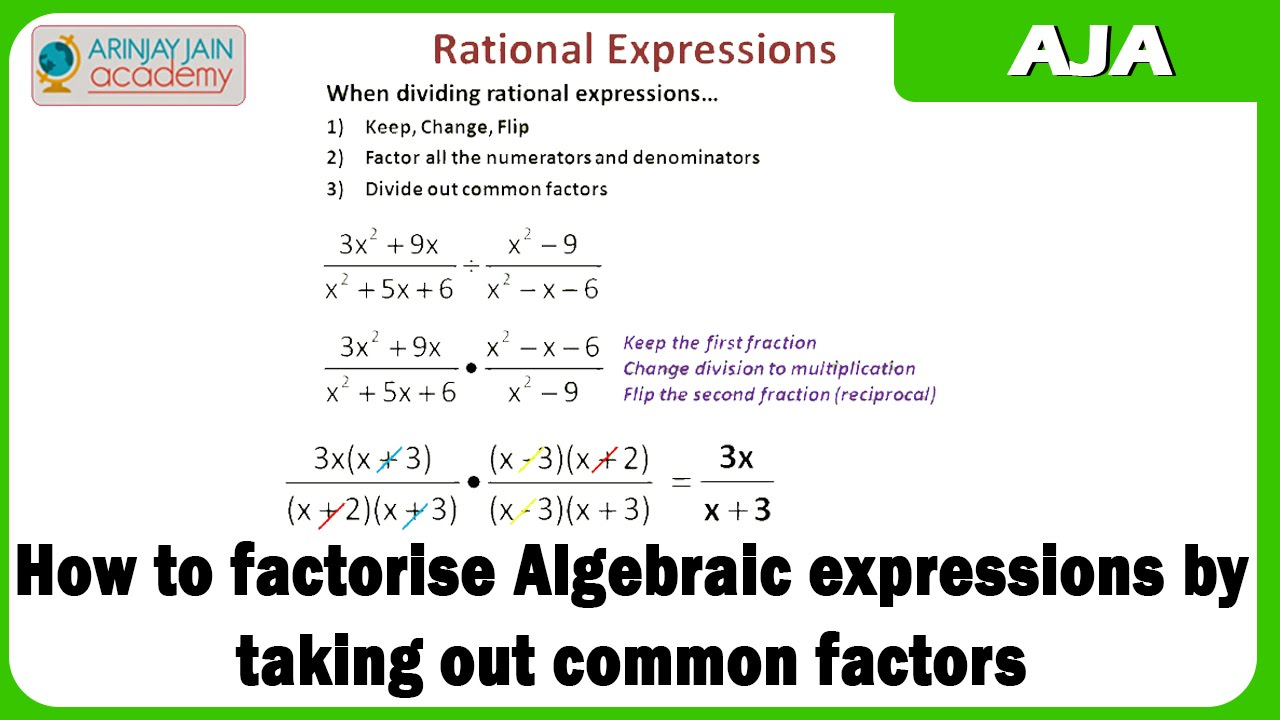 worksheet Algebraic Expressions how to factorise algebraic expressions by taking out common factors