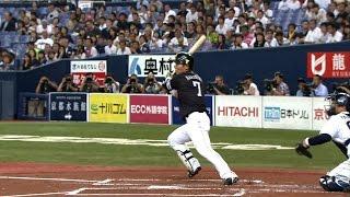 2回、中村晃が左中間を完全に割るタイムリーツーベースを放ち、ソフトバ...