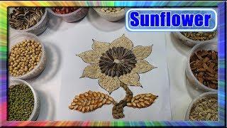 Belajar Cara Melukis kolase Bunga Matahari dengan Biji bijian | Learn colors for children sunflower