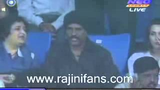 Repeat youtube video Indian Super Star Rajini Kanth's   Rajini watching cricket at Chennai