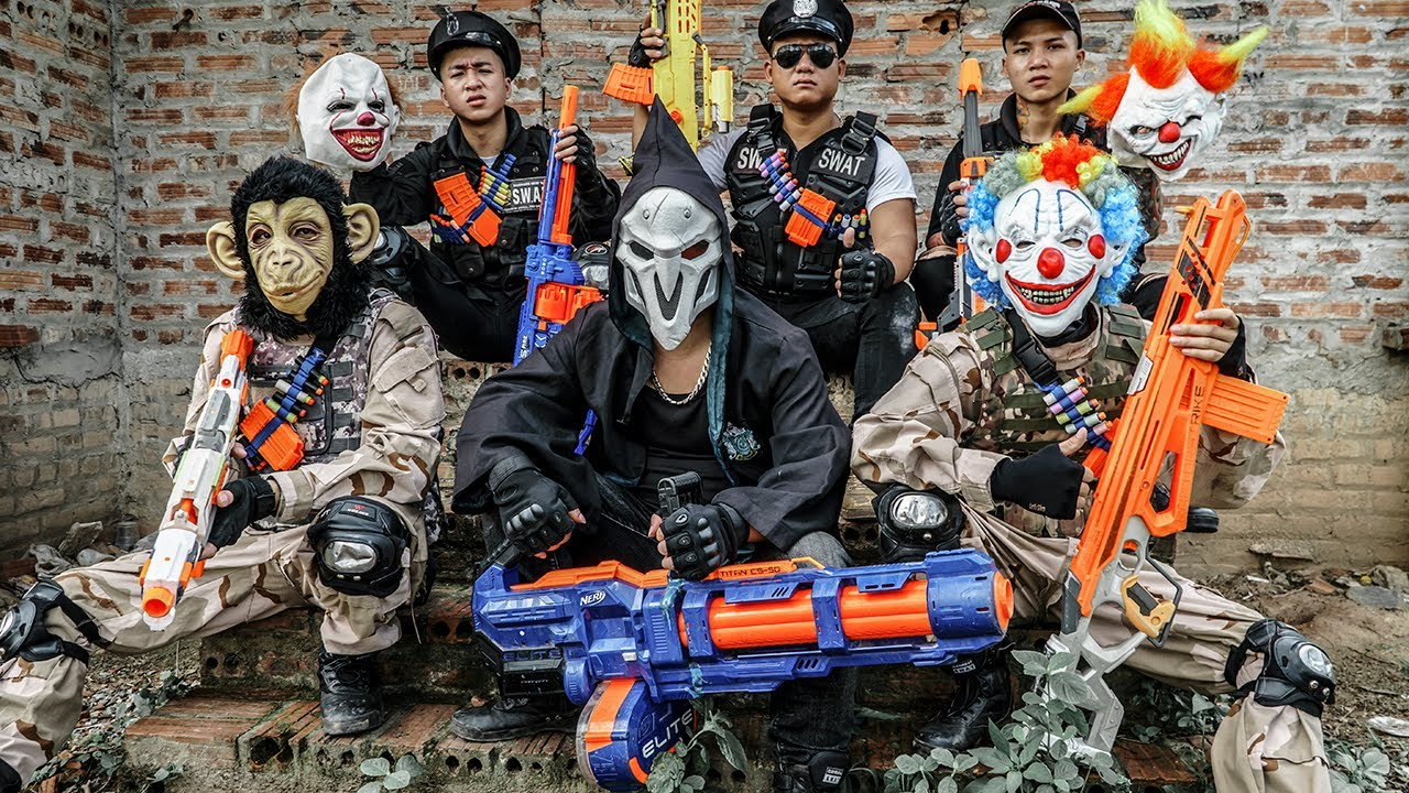 LTT Films : Captain S.E.A.L X Nerf Guns Fight Crime Group Beast Army Mask Evil Attacker