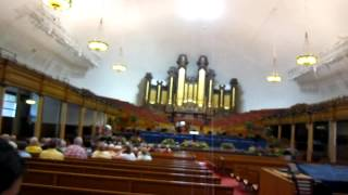 Inside the Mormon Tabernacle seeing the large organ