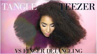 Detangling natural thick hair - tangle teezer vs finger detangling - unbelievable results
