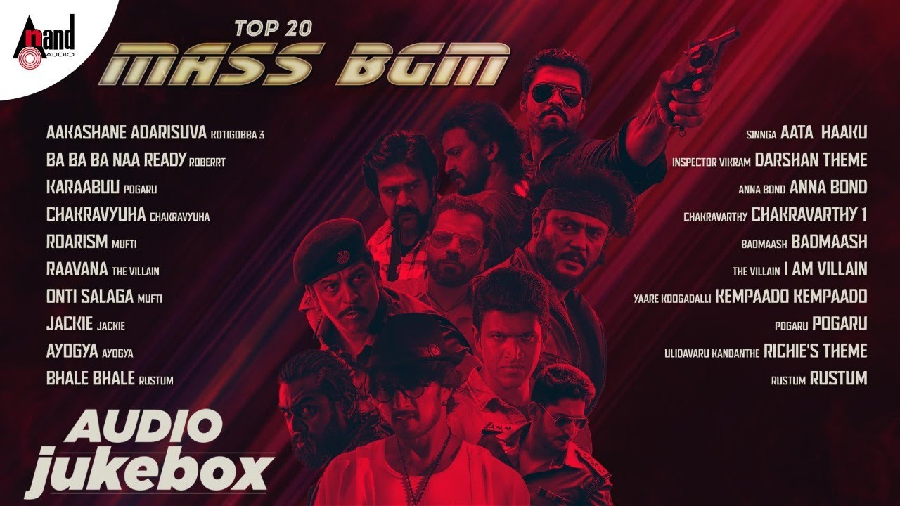 Top 20 Mass Bgm Audio Jukebox || Kannada Films Super Hit BGM Track || Anand Audio