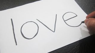 How to turn words LOVE into a Cartoon ! Learn drawing art on paper for kids