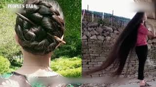 Real-life Rapunzel! Chinese woman with 2.5 meters(over 8 feet) long hair goes viral on social media.