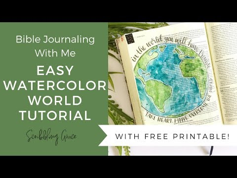 Easy Watercolor World Tutorial- Bible Journaling With Me