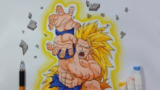 Drawing Goku ssj3 firing kamehameha blast