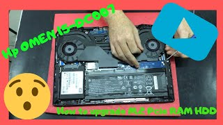 Hp OMEN 15 15-dc0007ns How Upgrade M.2 Pcie Nvme RAM SSD HDD Disassembly