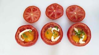 토마토에 계란을 넣어 …