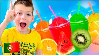 Cinco Crianças fazem sorvete de frutas Doces histórias para crianças