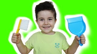 Yusuf Pretend Play with Cleaning Toys and help Mom