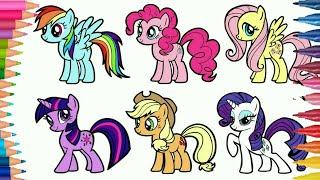 Belajar Menggambar kuda poni dan Mewarnai gambar little pony