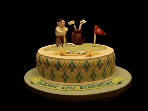 Golf Theme Argyle Theme Fondant Birthday Cake Youtube