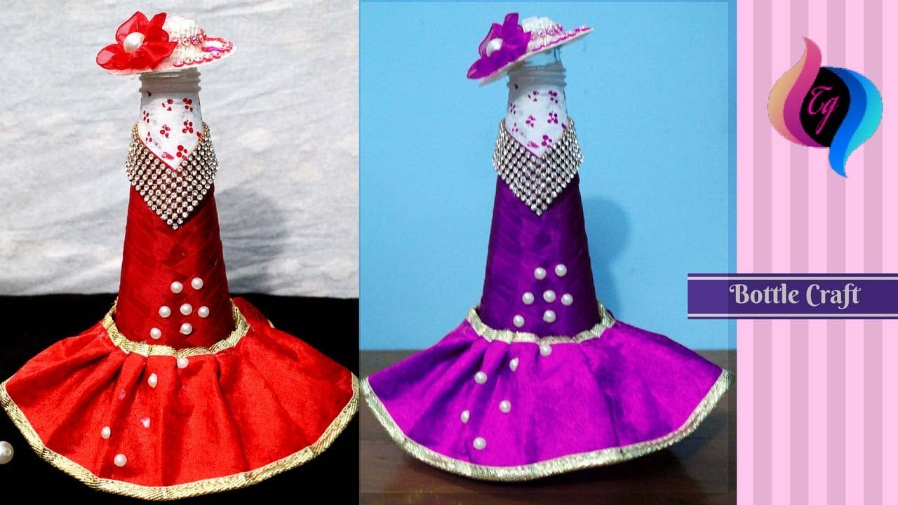 How to make bottle decorations - Wedding dress wine bottle cover ...
