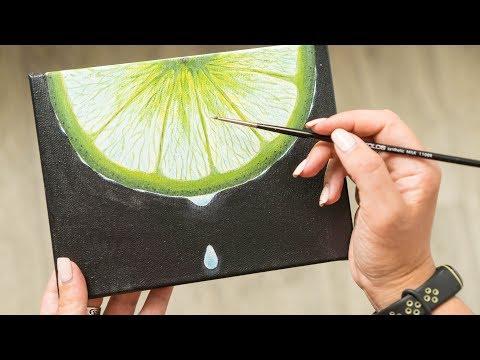 Juicy Lime Slice - Acrylic painting / Homemade Illustration (4k)