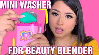 MINI WASHING MACHINE FOR BEAUTY BLENDER! DOES THIS THING REALLY WORK? |ITZEL VASQUEZ
